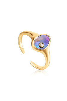 Ania Haie Gold Tidal Abalone Adjustable Signet Ring R027-01G