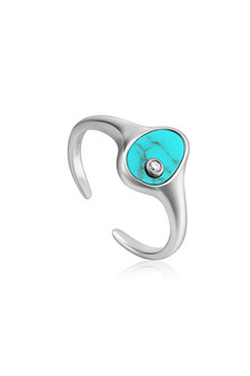 Ania Haie Silver Tidal Turquoise Adjustable Signet Ring R027-01H