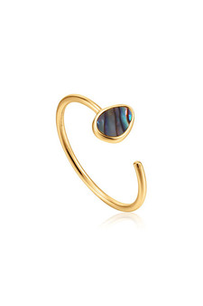 Ania Haie Gold Tidal Abalone Adjustable Ring R027-02G