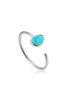 Ania Haie Silver Tidal Turquoise Adjustable Ring R027-02H