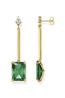 Thomas Sabo Earring Green Stone Gold TH2176GY