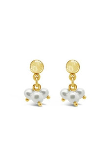 Ichu Trio Pearl Cluster Earrings Gold RP1407G