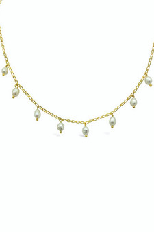 Ichu Scattered Pearl Necklace Gold RP0604G