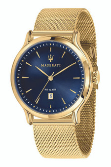 Maserati Epoca 42mm Blue Dial Gold Mesh Watch R8853118014