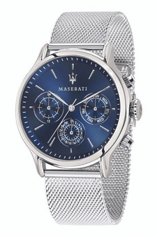 Maserati Epoca 42mm Blue Dial Silver Mesh Watch R8853118013