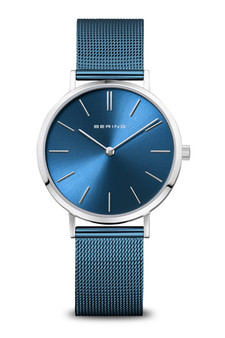 Bering Classic Polished Silver Blue Mesh Watch 14134-308