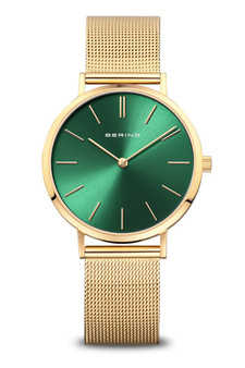 Bering Classic Polished Gold Green Watch 14134-338