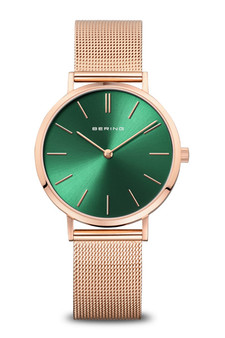 Bering Rose Gold Polished Green Watch 14134-368