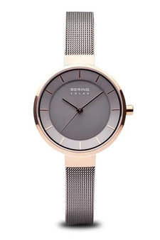 Bering Slim Solar Polished Rose Gold Grey Mesh Watch 14631-369