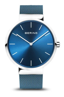 Bering Classic 40mm Blue Mesh Watch 16540-308