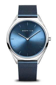 Bering Ultra Slim 39mm Blue Mesh Watch 17039-307