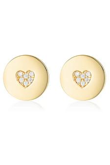 Georgini Rock Star Heart Disc Earrings Gold IE989G
