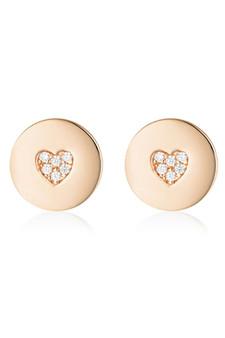 Georgini Rock Star Heart Disc Earrings Rose Gold IE989RG