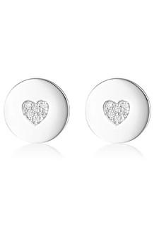 Georgini Rock Star Heart Disc Earrings Silver IE989W