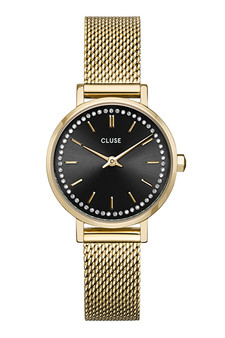 Cluse Boho Chic Petite Black Crystals/Gold Mesh Watch CW10501