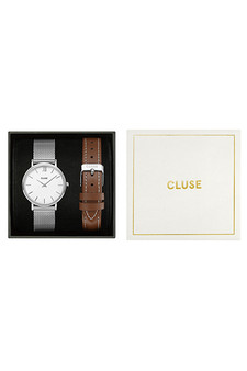 Cluse Minuit Silver Mesh & Brown Leather Strap Gift Set CG10207