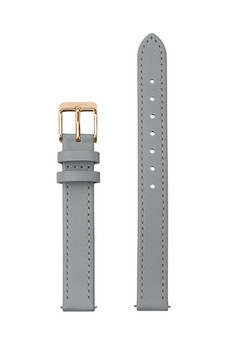 Cluse 12mm Watch Strap Grey/Rose Gold Leather CS12010