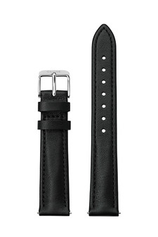 Cluse 16mm Watch Strap Black/Silver Leather CS12228