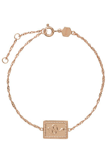 Cluse Force Tropicale Rose Gold Twisted Chain Tag Bracelet CLJ10022