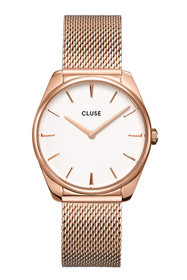 Cluse Feroce Rose Gold White/Rose Gold Mesh Watch CW0101212002