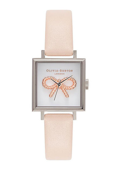 Olivia Burton Vintage Bow Silver Peach Watch OB16VB02