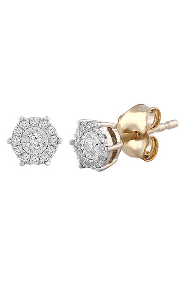 Diamond Cluster Stud Earrings with 0.1ct Diamond In 9K Yellow Gold