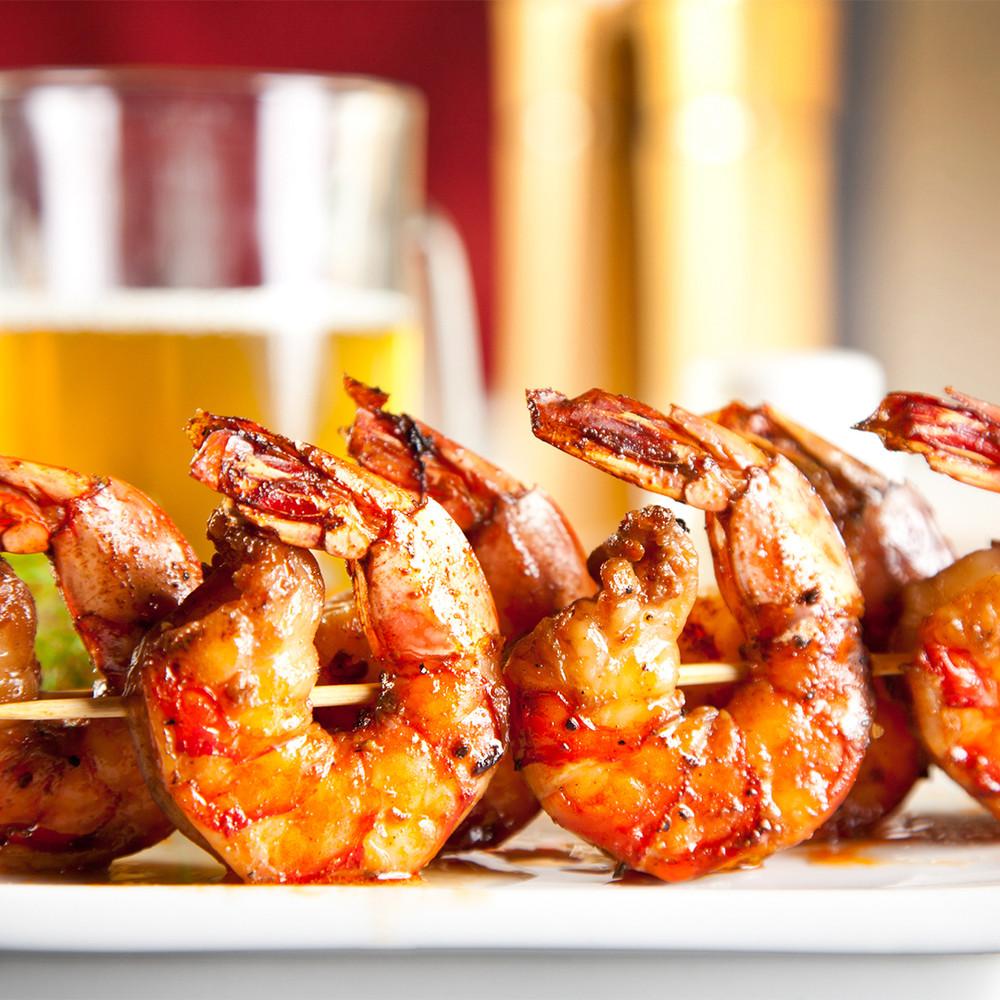 Colossal Gulf white shrimp skewer.