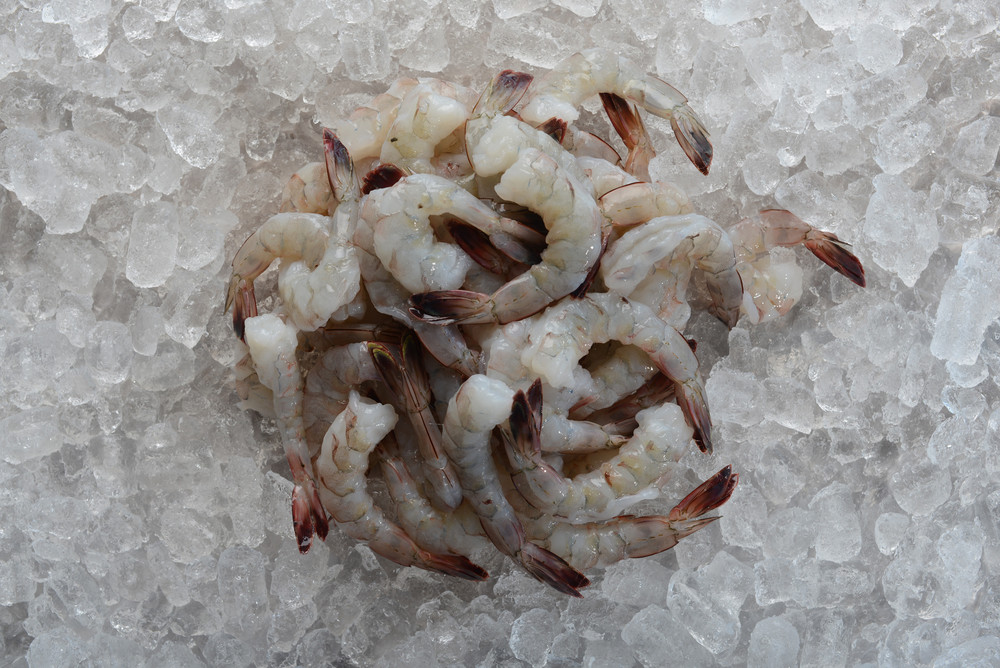 Raw extra jumbo  16-20 count peeled and deveined tail on wild caught USA American Gulf shrimp