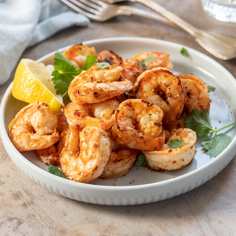 Seared and herbed Gulf white shrimp.