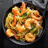 Jumbo shelled Gulf shrimp in noodles.
