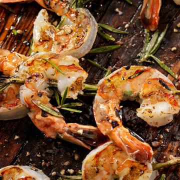 Jumbo Gulf white shrimp skewers.