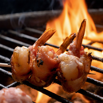 Extra jumbo white Gulf shrimp skewer.