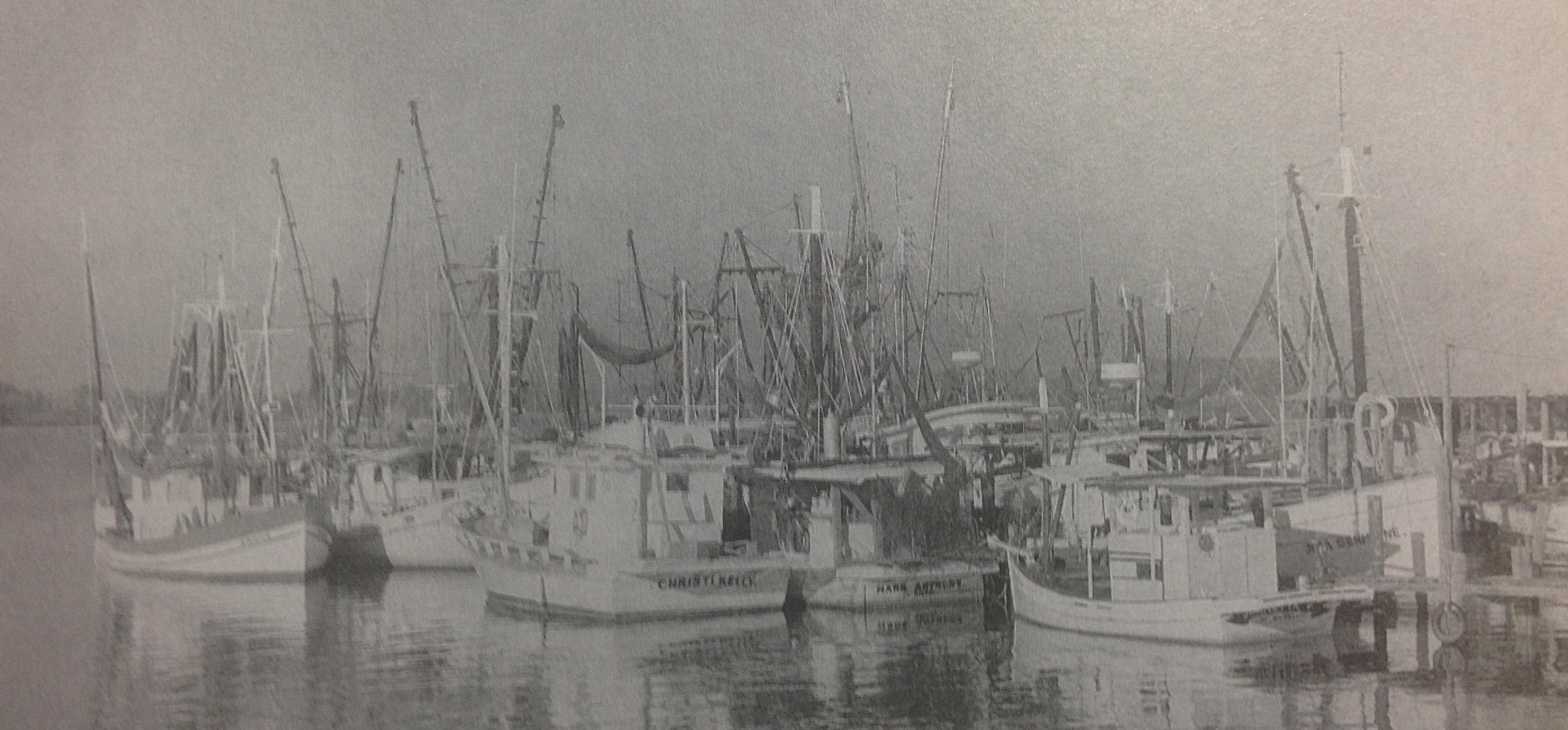 Black and white photo of Biloxi fishing boats