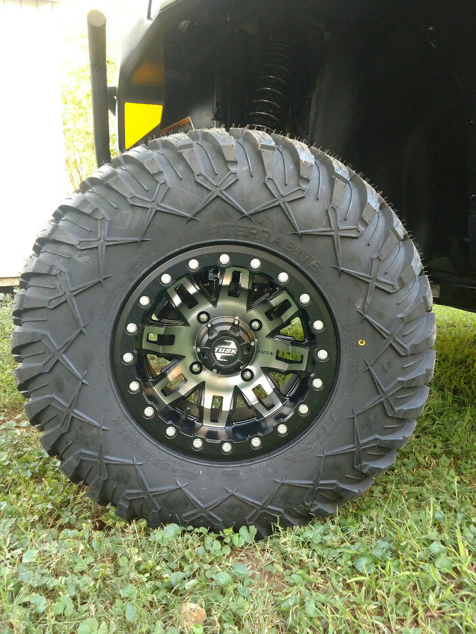 Tusk Tire / Wheel Kit Terrabite 30x10-14 Mounted Beadlocks 14x7 Defender HD5 HD8 HD10