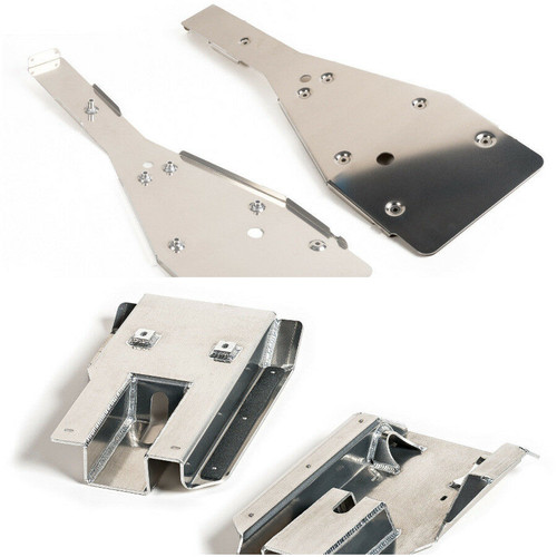 Complete Kit Includes: Full Chassis Skid Plate and Swing Arm Skid Plate (Top and bottom Views)