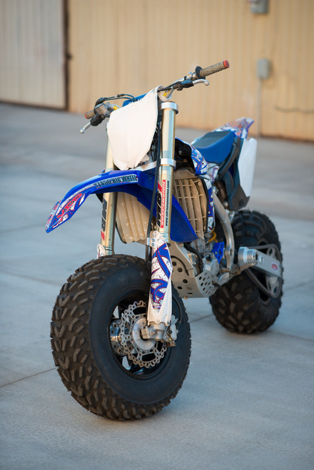 YZ450 Big Wheel kit installed showing the completed big wheel conversion.