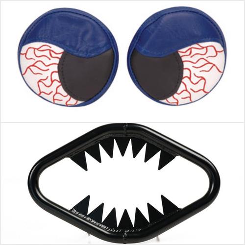 Yamaha Banshee YFZ350 87-06 High Gloss Black Jaws Bumper w/ Blue Headlight Covers | XFR