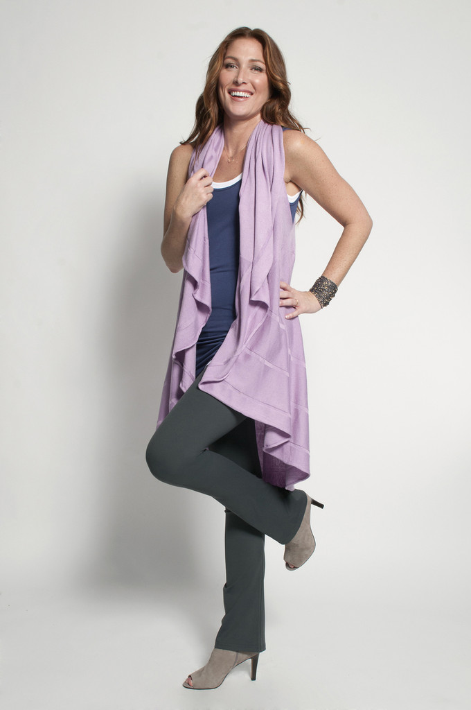 Charcoal Bootcut (shown with Layering Tank Tops in Navy, White & Long Vest in Orchid)