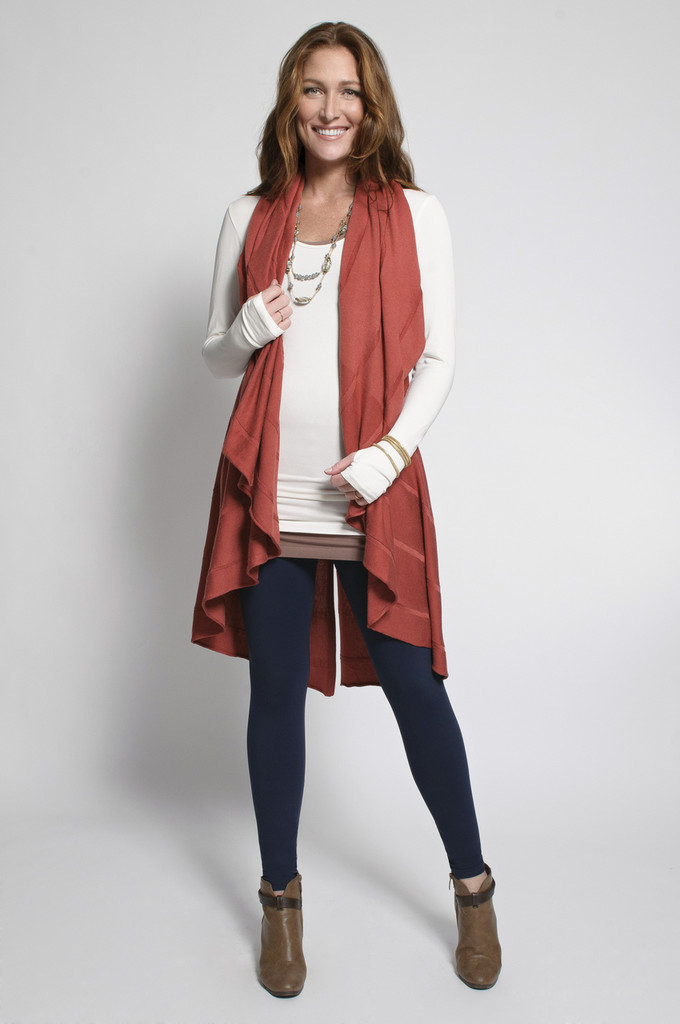 Navy Leggings (shown with Layering Tank Top in Tan, Layering Long Sleeve Top in Ivory & Long Vest in Marsala)