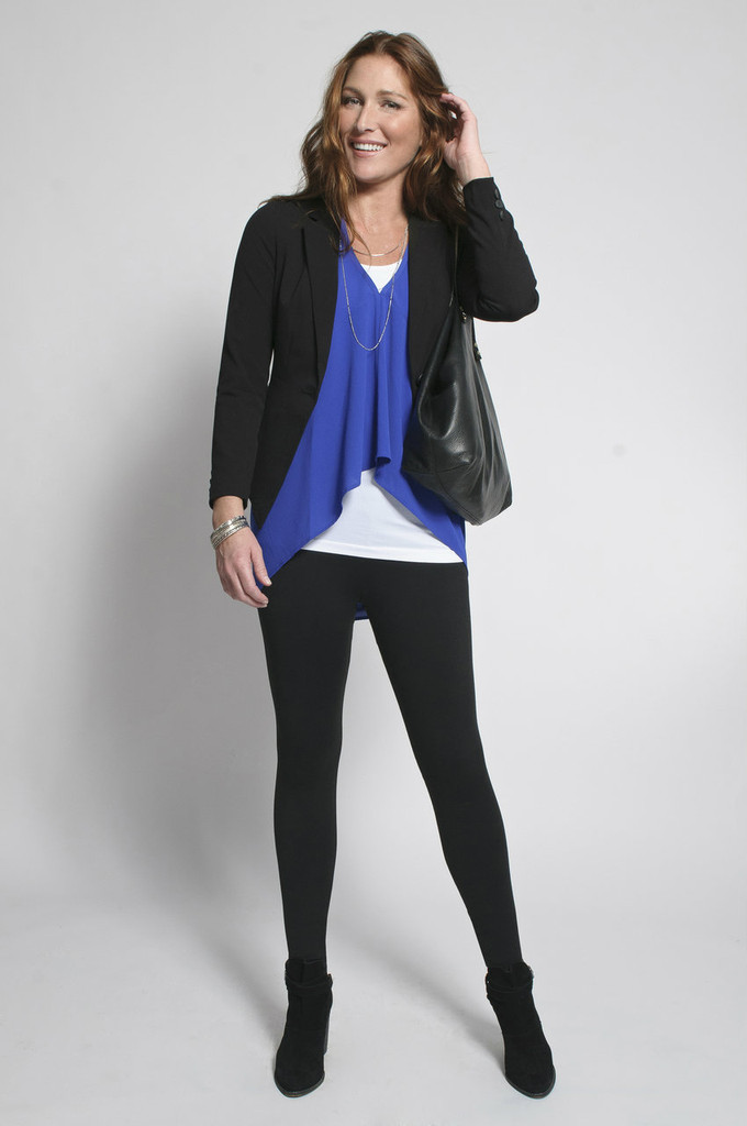 Black Leggings (shown with Layering Tank Top in White & Fancy Tank in Royal Blue)