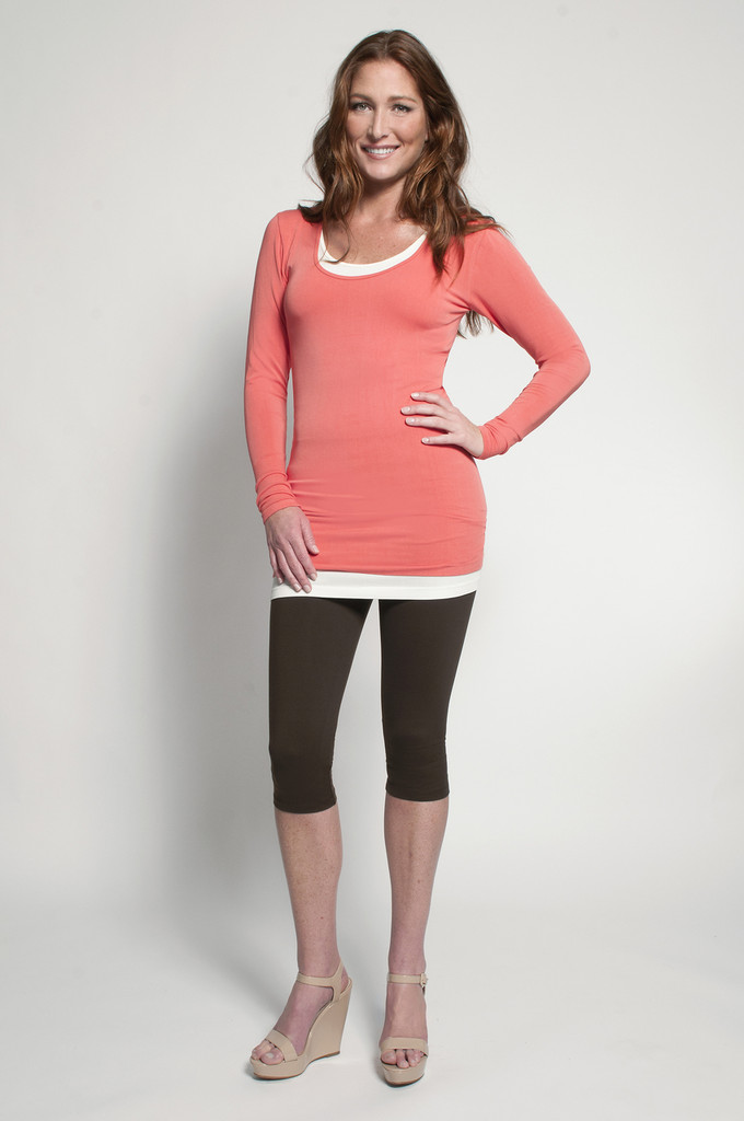 Chocolate Capris (shown with Layering Tank Top in Ivory & Layering Long Sleeve Top in Tangerine)