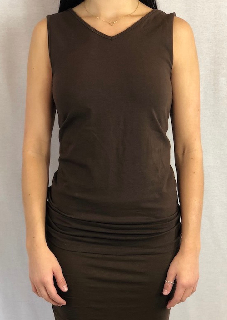Brown Ruched Skirt Paired With Brown Slim Fit Tank Top