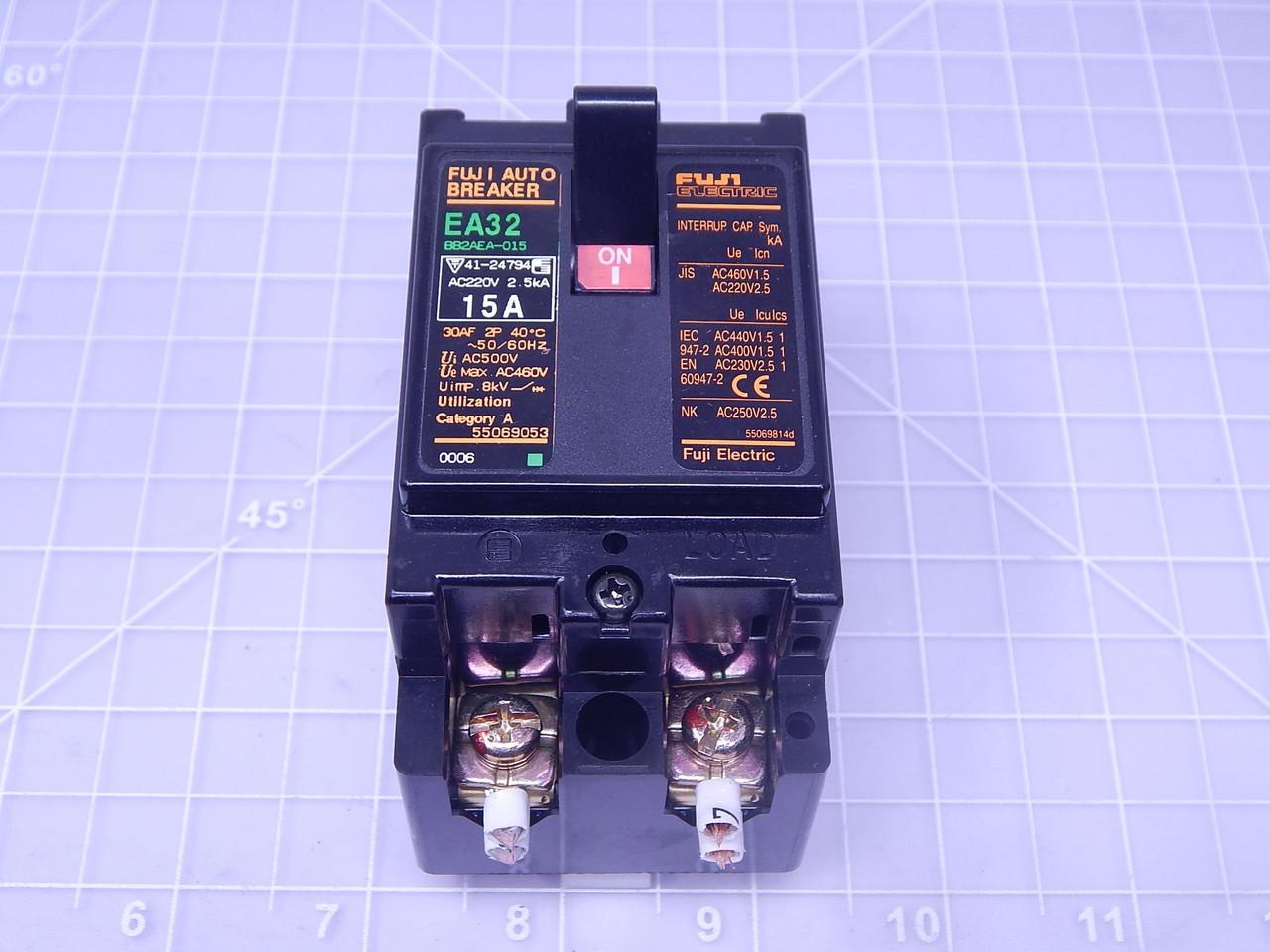 Used Fuji Electric Auto Breaker 2 Pole Warranty 15A EA32 220V