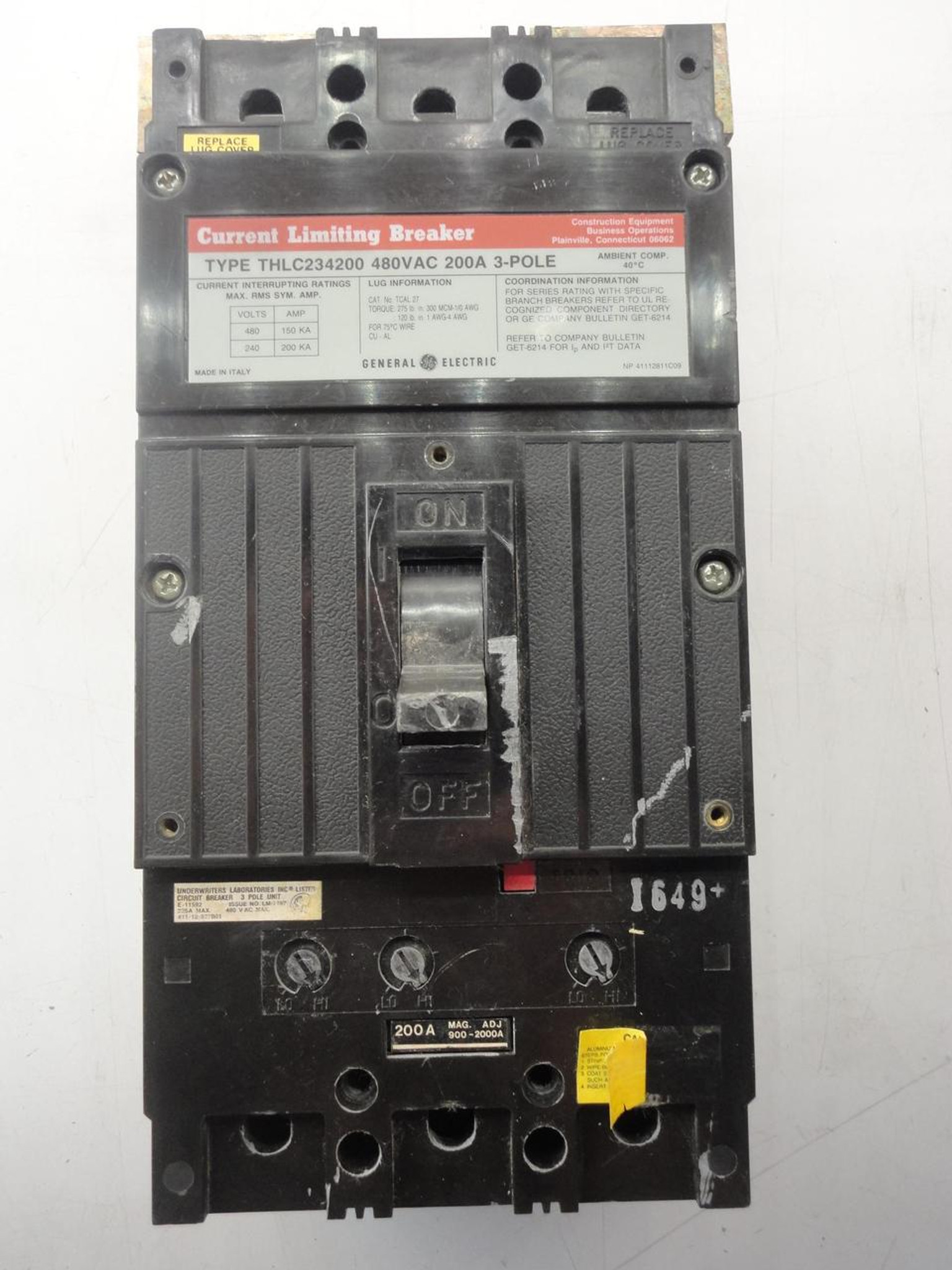 GE THLC234200 Molded Case Circuit Breaker 3 Pole 200A 480VAC T20681