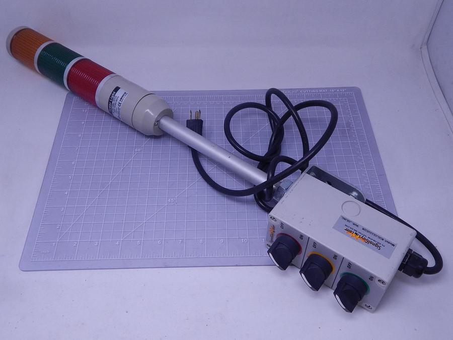 Menics MT5C3BL-RYG Tower Light w/ MT5C-110-3-CUSTOM Switches T128124 For Sale