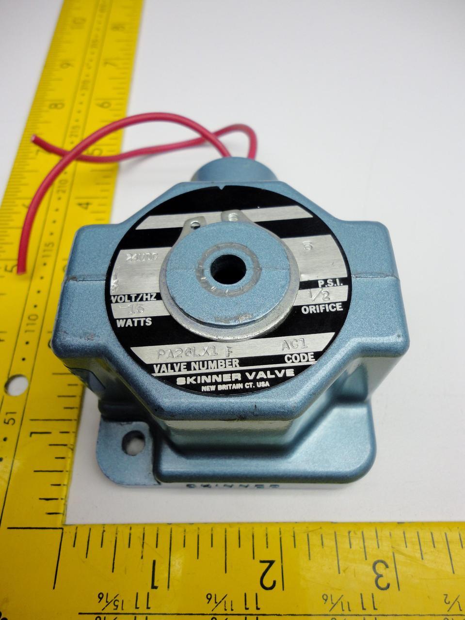 Skinner Valve PA26LX1 F Solenoid Valve W/ Molded Coil 24VDC 4PSI 15W 1/2  T14674
