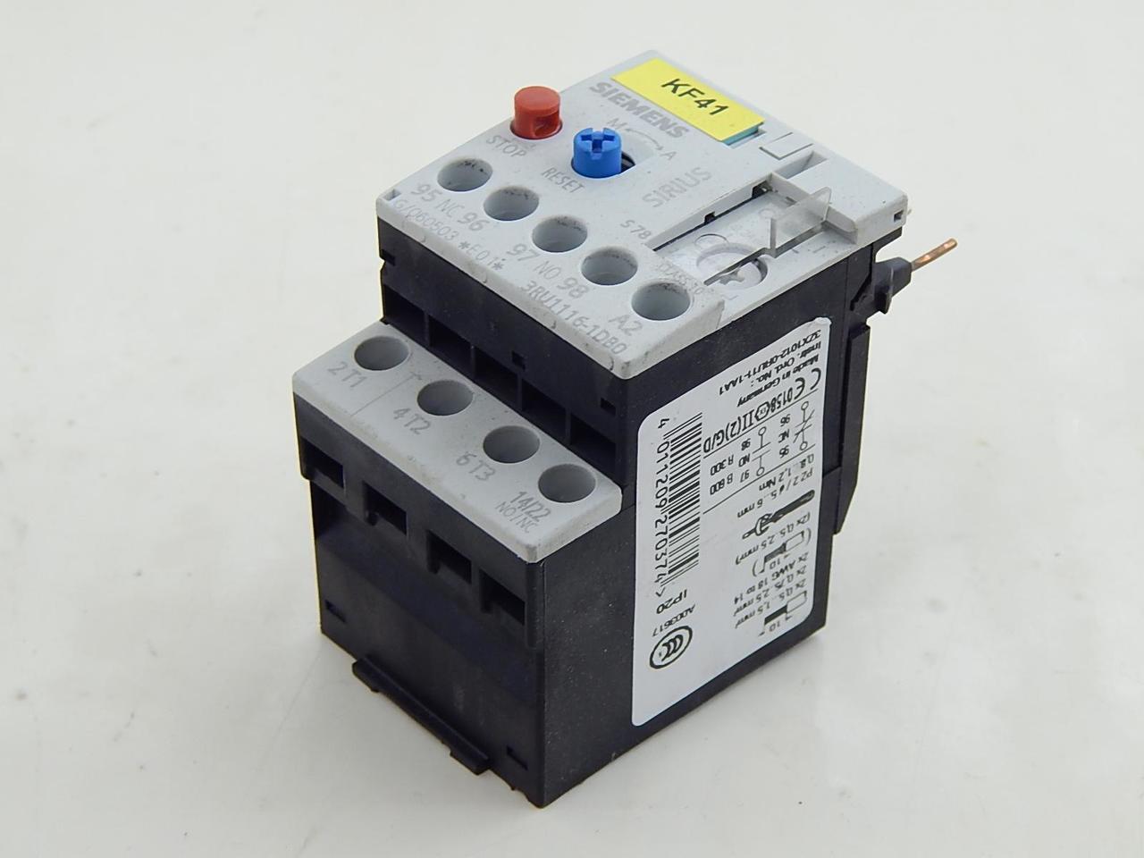 Lot of 6 Siemens 3RU1116-1DB0 Overload Relay T93372