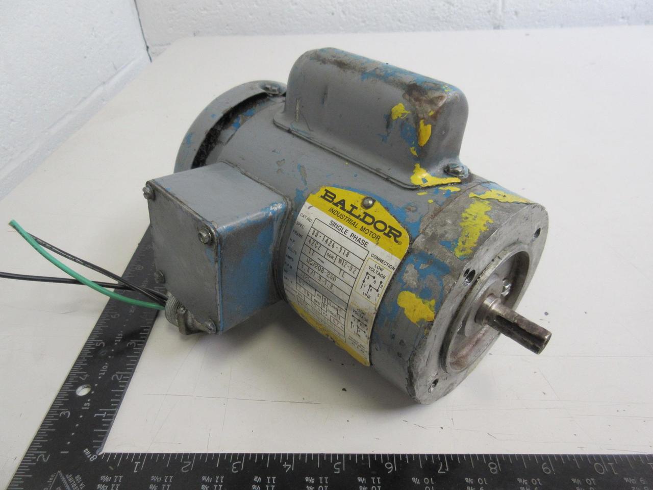 Baldor 33-1426-918 Single Phase Motor, 1/6 HP, 115/208-230 V, 1725 RPM, Fr  42CZ T97397