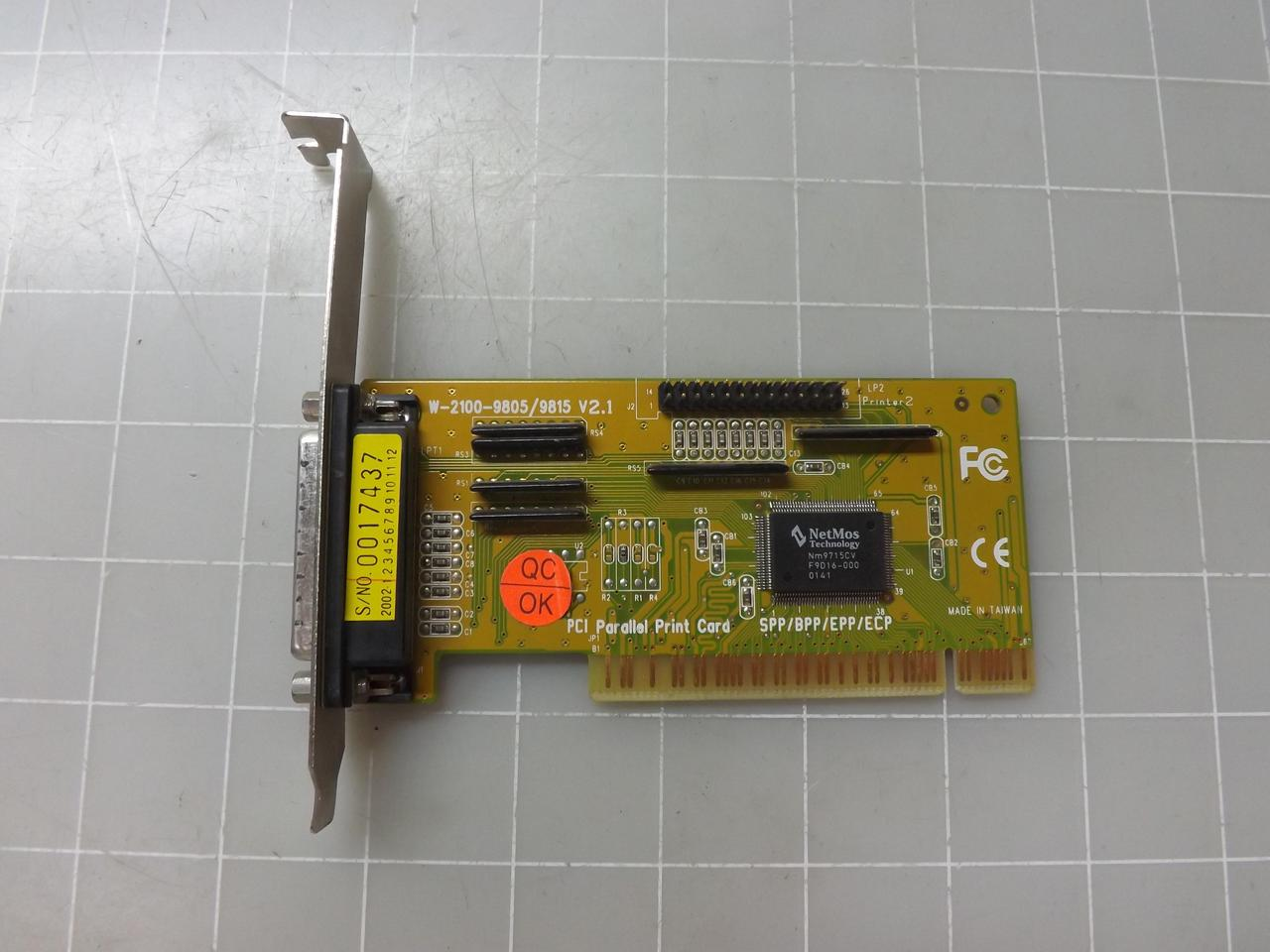 W 2100 9805 9815 PCI Parallel Print Card T50366