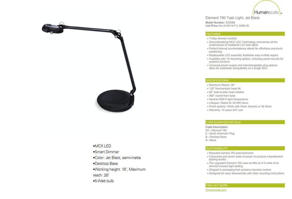 Humunscale Element 790 Task Light - New